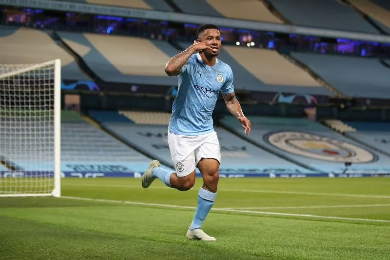 Gabriel Jesus of Manchester City celebrates after scoring